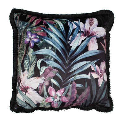 Dark Floral Velvet Cushion