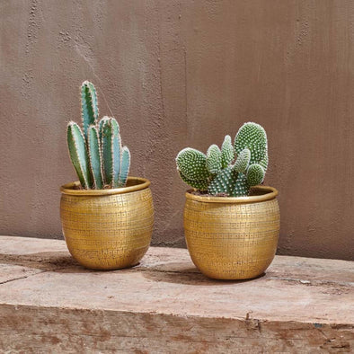 Decorative Brass Plant Pot Set of 2