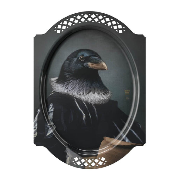 Decorative Crow Portrait Serving Tray