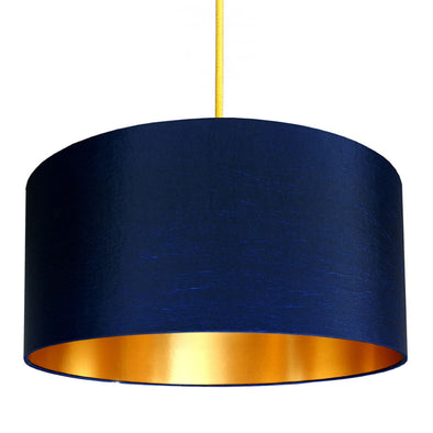 Deep Blue Lampshade with Gold Lining