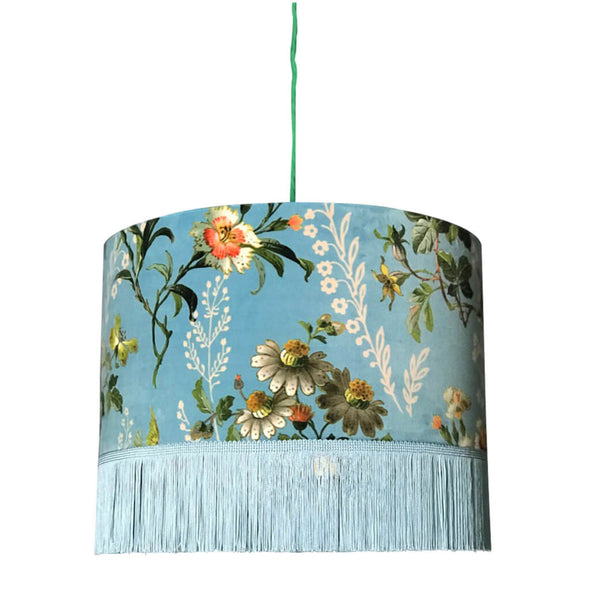 Duck Egg Floral Lampshade with Fringing