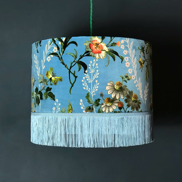 Duck Egg Floral Velvet Lampshade with Fringing