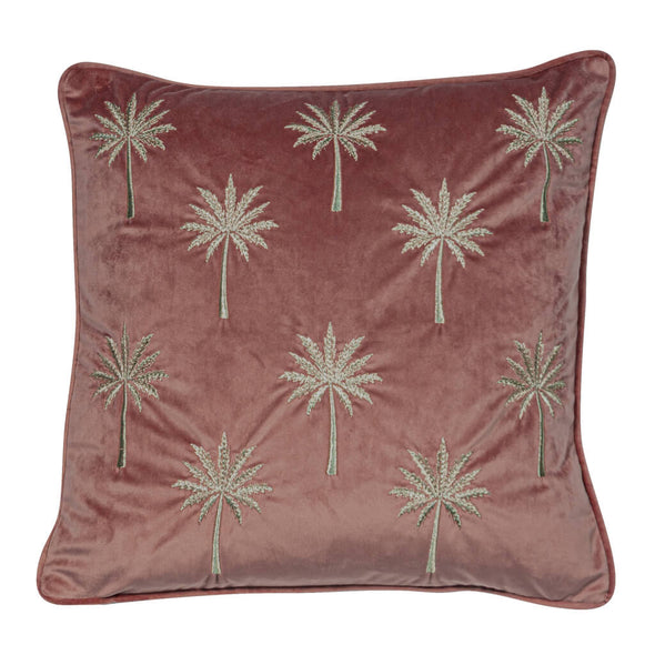 Dusky Pink Velvet Cushion with Gold Embroidered Palms