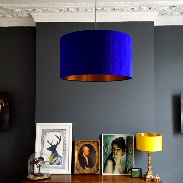 Electric Blue Lampshade with Brushed Copper Lining