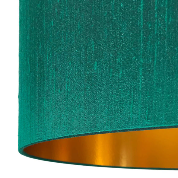 Emerald Green Silk Lamp Shade with Gold Lining
