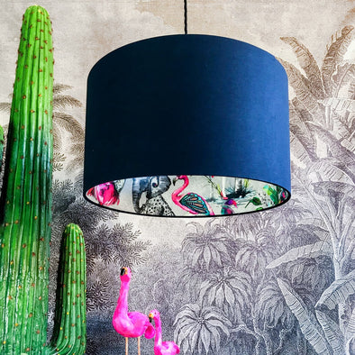 Flamboyant Animal Lampshade in Deep Navy