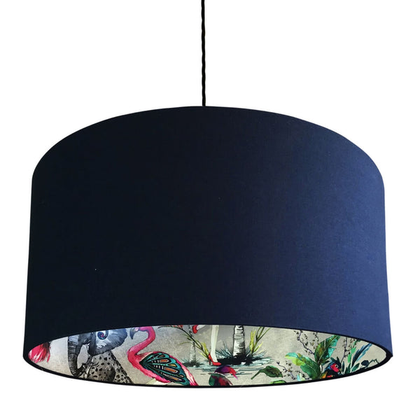 Flamboyant Animal Silhouette Lampshade in Deep Navy