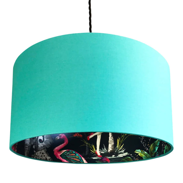 Flamboyant Animal Silhouette Lampshade in Jade Green
