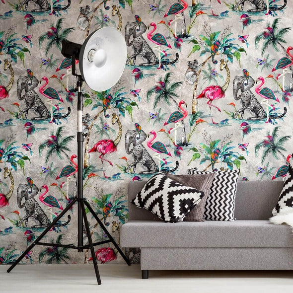 Flamboyant Lampshade Wallpaper Lining