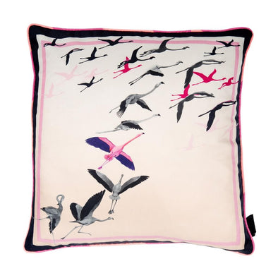 Flamingo Flock Silk Cushion