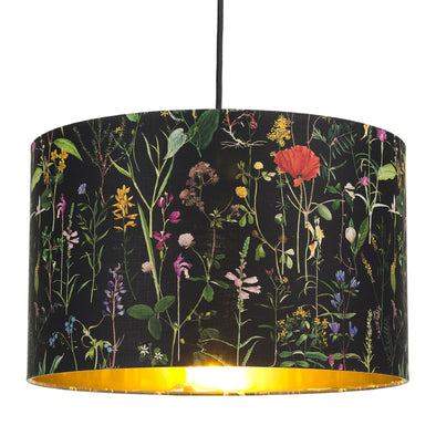 Floral Ceiling Lamp Shade With Gold Lining