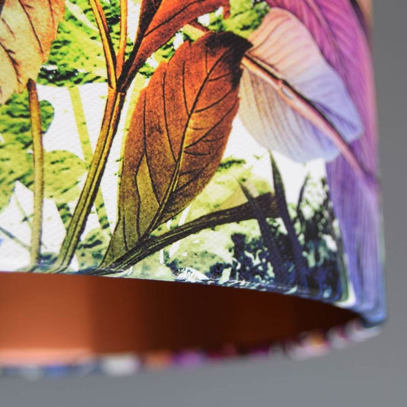 Floral Lampshade with Brushed Copper Lining