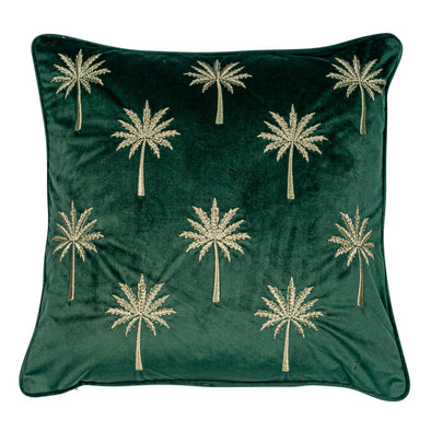 Forest Green Cushion with Gold Palms
