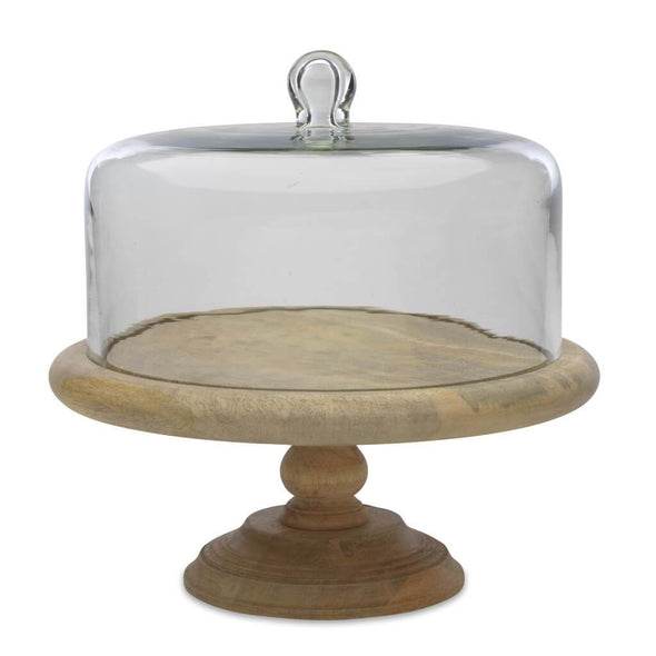 Glass Cake Stand With Wooden Base