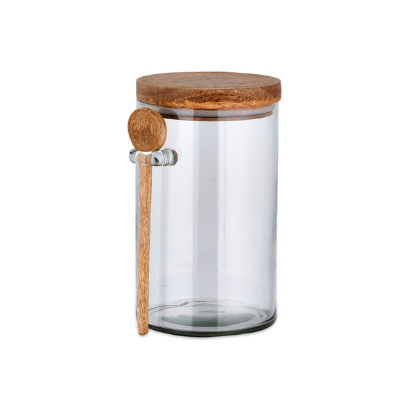 Glass Storage Jar with Wood Spoon