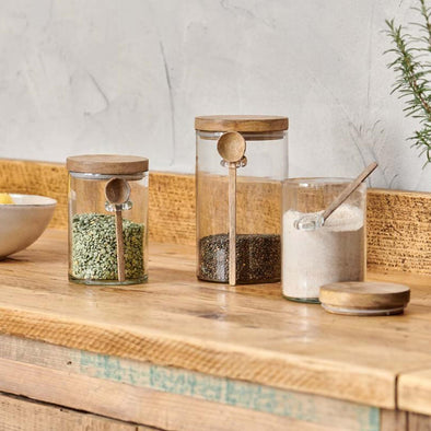Glass Storage Jar with a Wooden Spoon