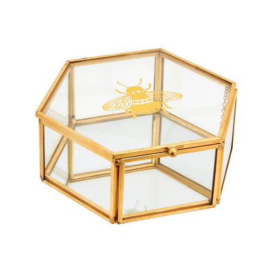 Gold Bee Glass Box