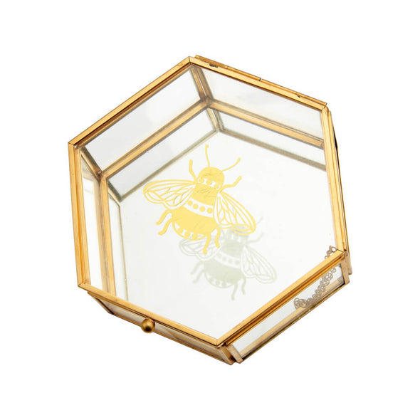 Gold Bee Glass Jewellery Box