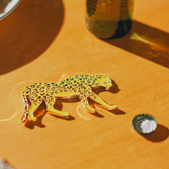 Gold Leopard Shaped Bottle Opener