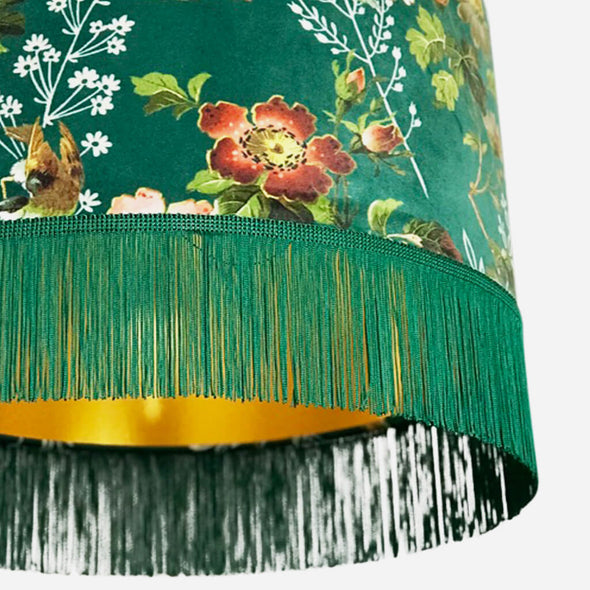 Gold Lined Green Floral Velvet Lampshade with Fringing