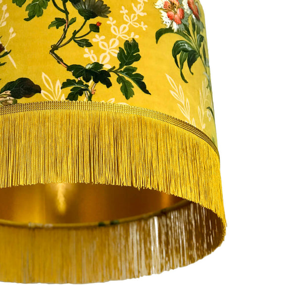 Gold Lined Mustard Floral Velvet Lampshade with Fringing