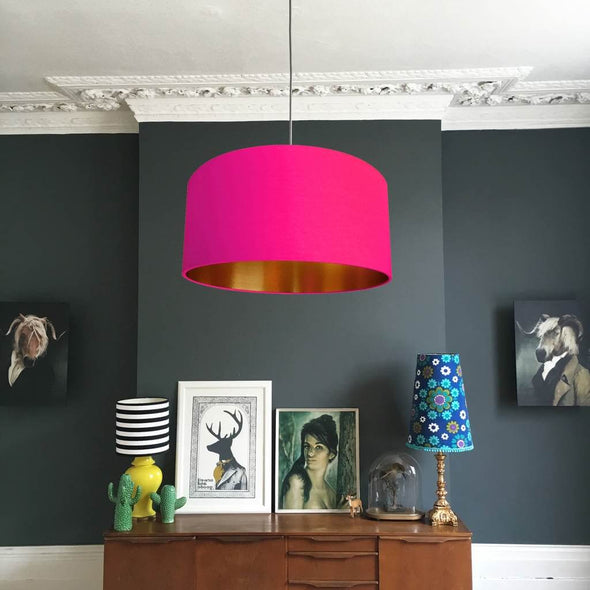 Gold Lined Watermelon Pink Lampshade