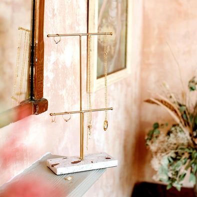 Gold Terrazzo Double Jewellery Stand