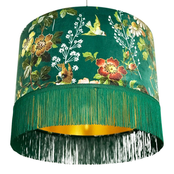 Green Floral Velvet Lampshade with Fringing And Gold Lining
