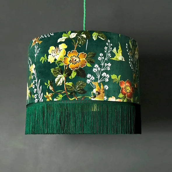 Green Floral Velvet Lampshade with Fringing