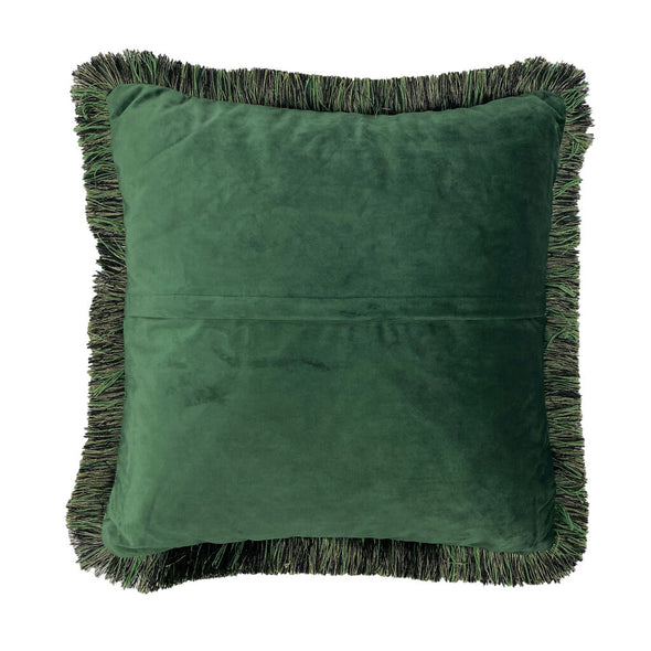 Green Forest Velvet Cushion With Trim