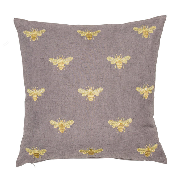 Grey Cushion with Golden Bees