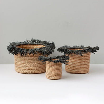 Grey Tassel Woven Basket Set of 3