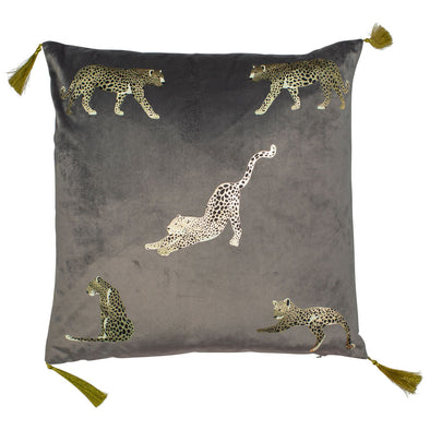 Grey Velvet Cushion with Golden Leopards