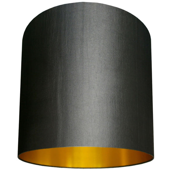 Gun Metal Grey Handmade Lampshade With Gold Lining