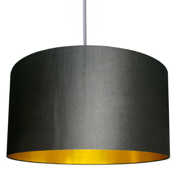 Gun Metal Grey Lampshade With Gold Lining