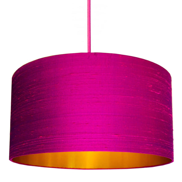 Hot Pink Silk Lampshade with Gold Lining