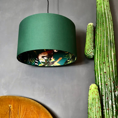 Hunter Green Lampshade With Lemurs Lining
