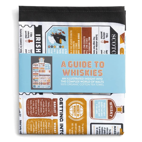 Illustratred guide to Whiskies Tea Towel