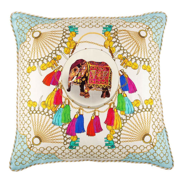 Indian Elephant Silk Cushion