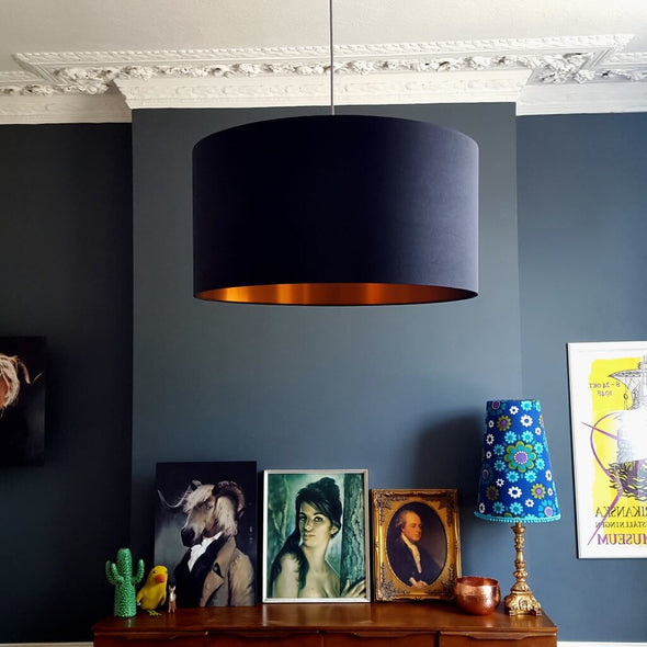 Jet Black Lampshade with Brushed Copper Lining