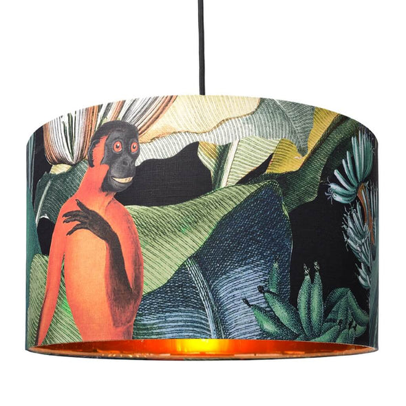 Jungle Monkey Drum Shade With Copper Lining