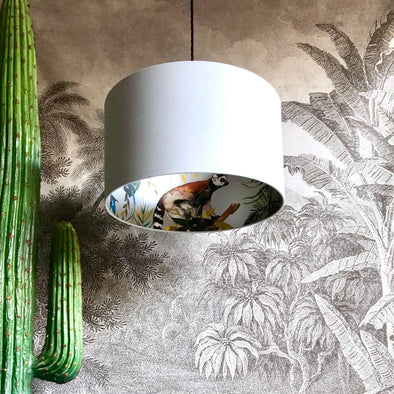Lemurs Lined Lampshade in Cloud Grey