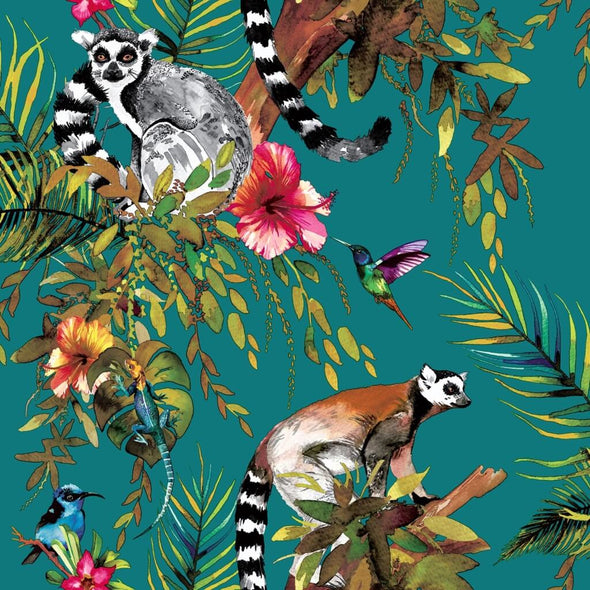 Lemurs Wallpaper Lined Lampshade