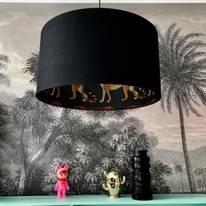 Leopards Silhouette Black Lampshade