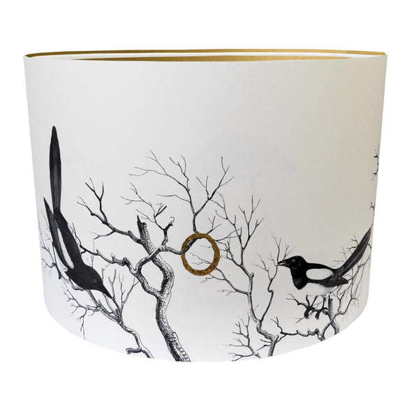 Magpies Lampshade With Gold Lining