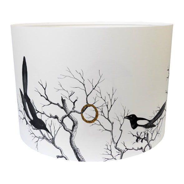 Magpies Lampshade With White Lining