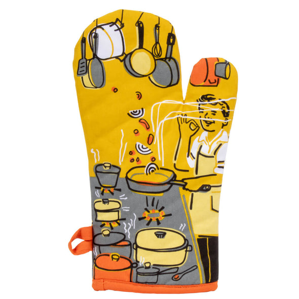 Man With A Pan Oven Glove