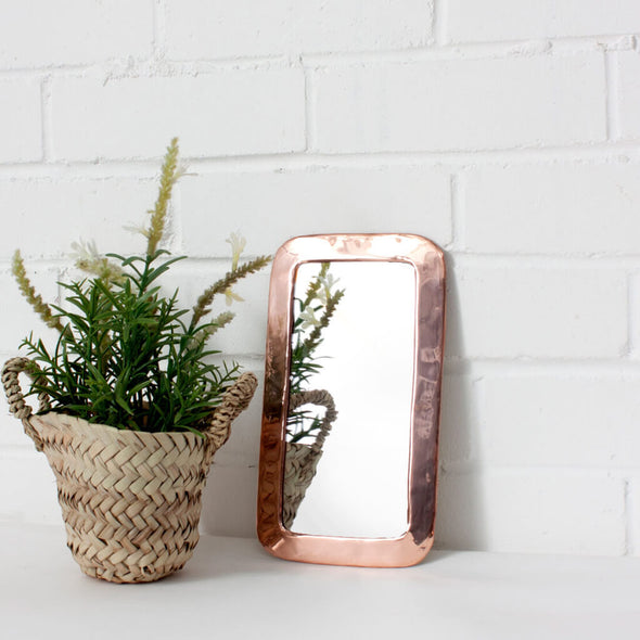 Medium Moroccan Rectangle Rose Gold Mirror