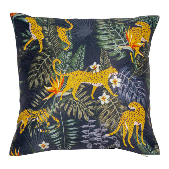 Midnight Jungle Leopard Cushion