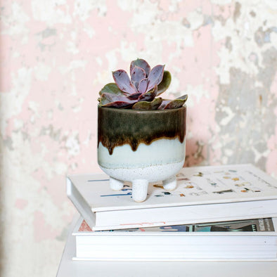 Mini Green Glaze Planter on Legs